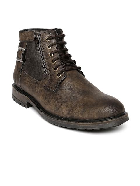 San Frissco Men Brown Solid High-Tops Flat Boots