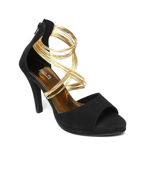 Inc.5 Women Black & Gold-Toned Strappy Stilettos