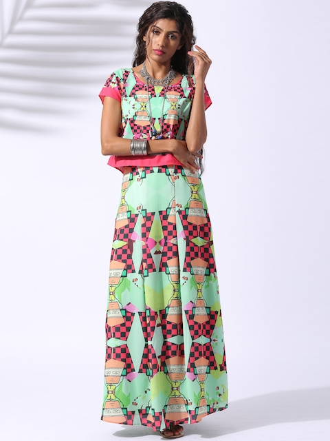Lokal South Multicoloured Chandra Bindu Printed Twin Set Dress