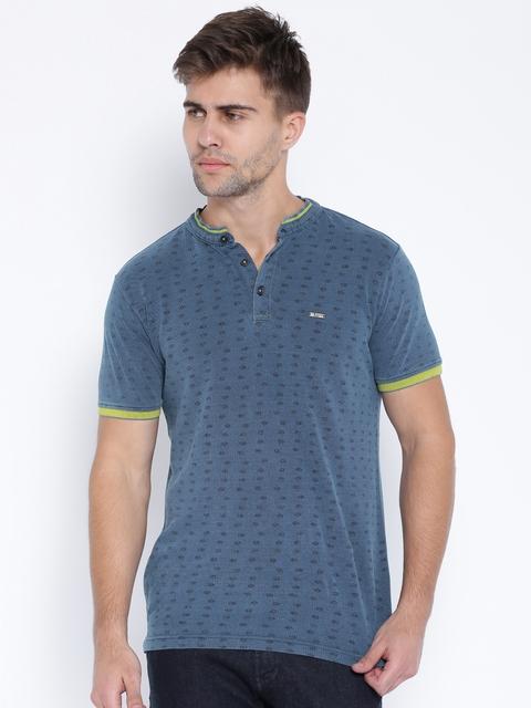 SPYKAR Blue Printed Henley T-shirt