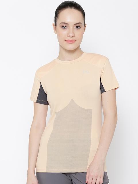 FILA Peach-Coloured Brahma Printed Yoga T-shirt