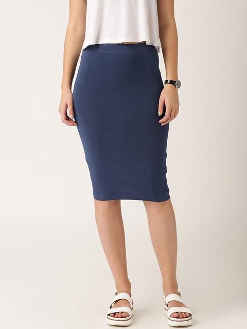ETHER Navy Pencil Skirt