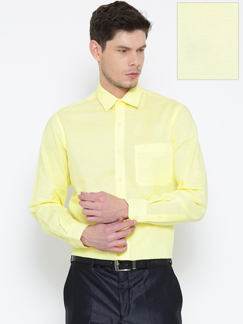 John Player Yellow Slim Fit Formal Linen Shirt  available at myntra for Rs.764