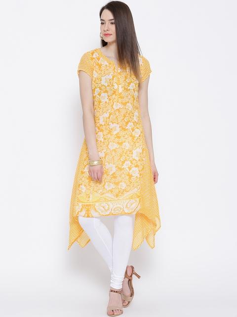 BIBA Yellow & Off-White Floral Print A-Line Kurta