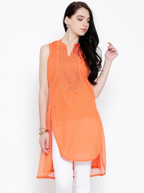 BIBA Orange Self-Striped Crochet Kurta