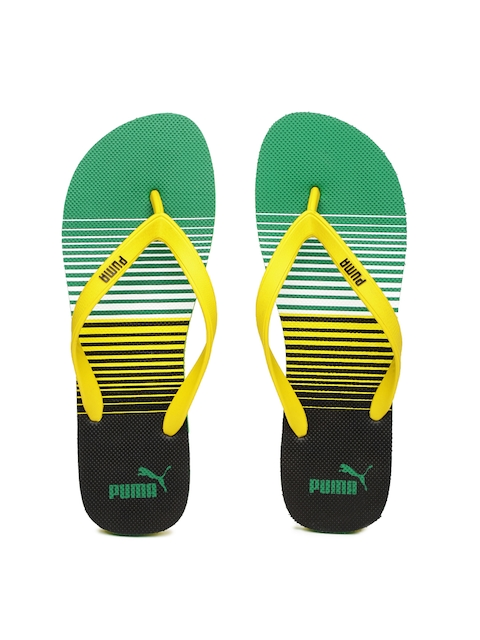 PUMA Men Yellow & Green Printed Flip-Flops