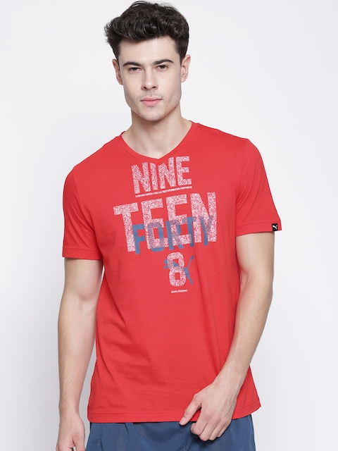 PUMA Red V-Neck Graphic Print T-shirt