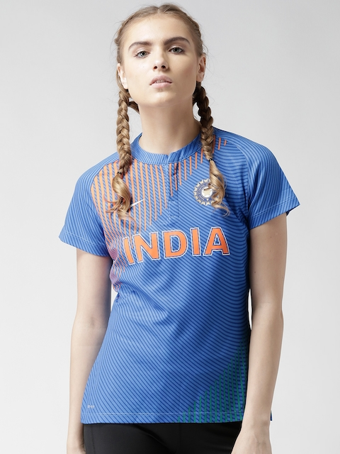 Nike Women Blue India SS WMN REPL T20 Printed Jersey Top