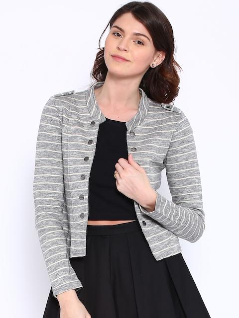 ONLY Grey & Beige Striped Jacket