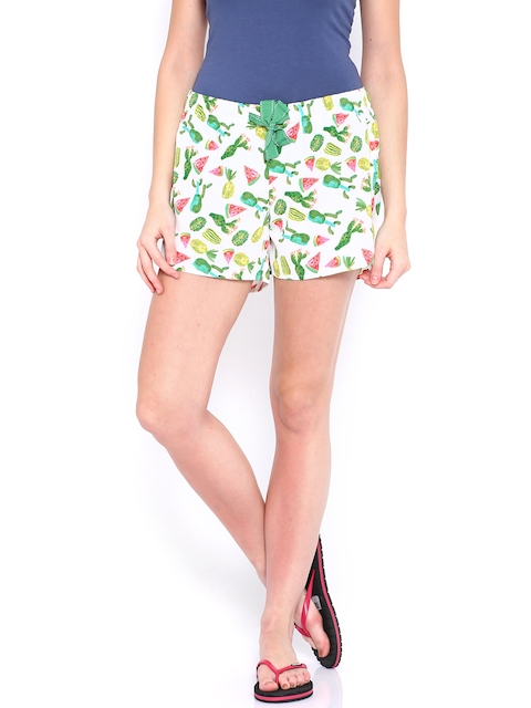 ONLY White Printed Lounge Shorts 1808793005