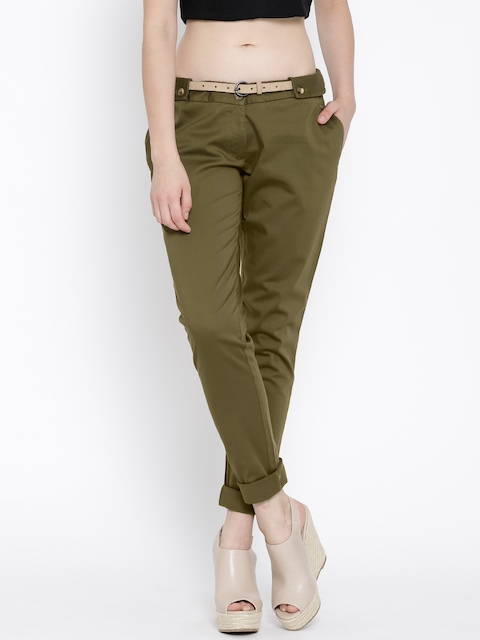 Park Avenue Woman Olive Green Casual Trousers
