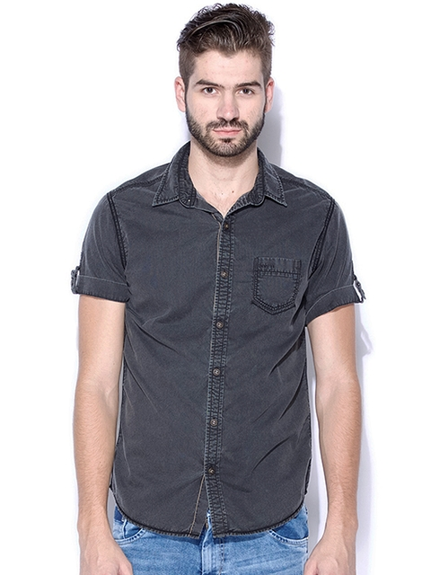 Mufti Charcoal Grey Slim Fit Casual Shirt