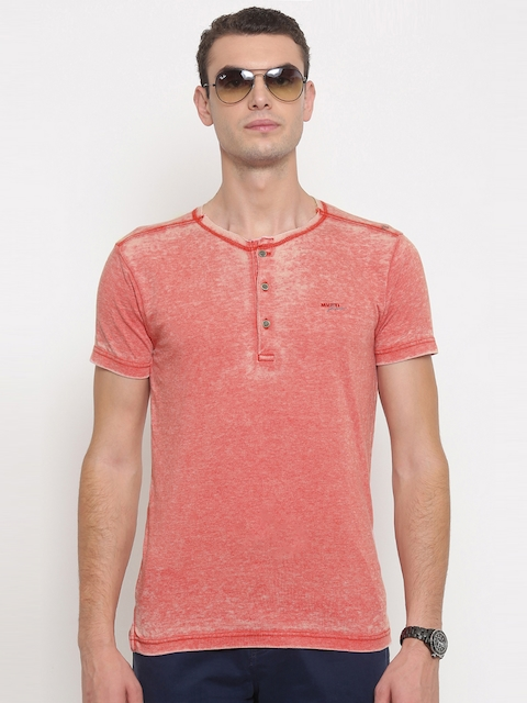 Mufti Men Pink Washed Henley T-shirt