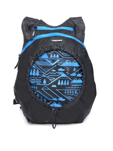 Gear Unisex Black Printed Foldable Backpack
