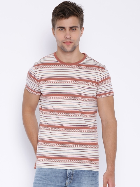 Allen Solly Jeans Off-White & Brown Striped T-shirt