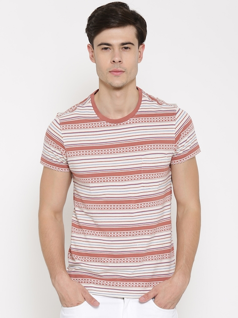 Solly Jeans Co. Jeans Off-White & Brown Striped T-shirt