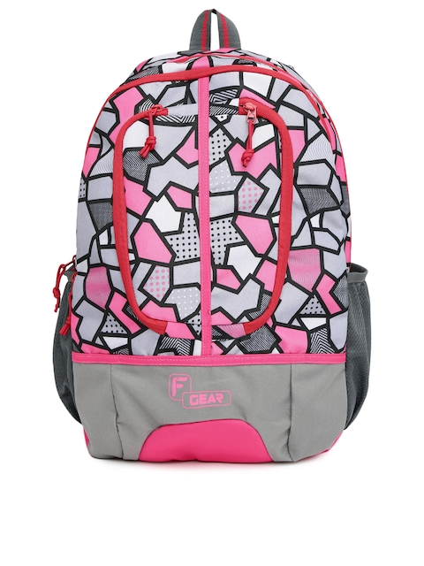 F Gear Unisex Grey & Pink Dropsy Printed Backpack
