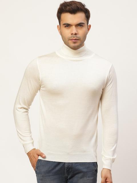 Pierre Carlo Men Off-White Solid Turtle Neck Pullover Sweater