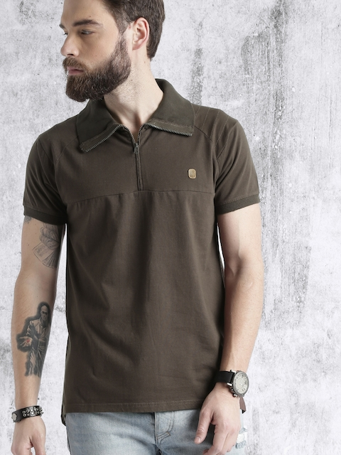Roadster Men Brown Solid Mock T-shirt