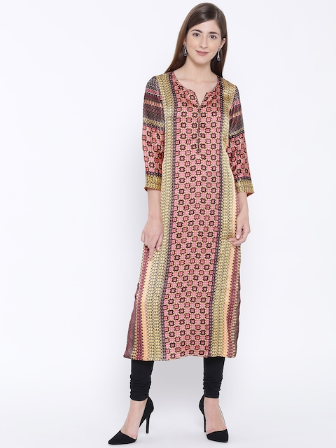 Folklore Women Pink & Yellow Printed Straight Kurta  available at myntra for Rs.419