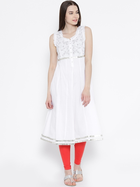 BIBA White Embroidered Anarkali Kurta  available at myntra for Rs.1199