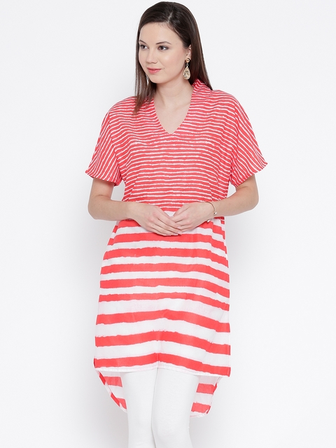 BIBA Red & White Striped High-Low Kurta  available at myntra for Rs.399