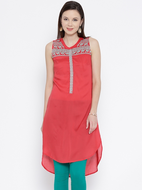 BIBA Coral Red Embroidered High-Low Kurta