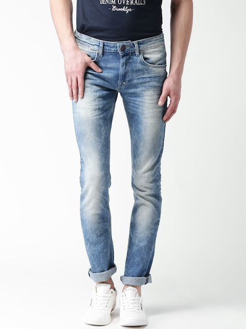 Celio Blue Washed Slim Stretchable Jeans  available at myntra for Rs.1199