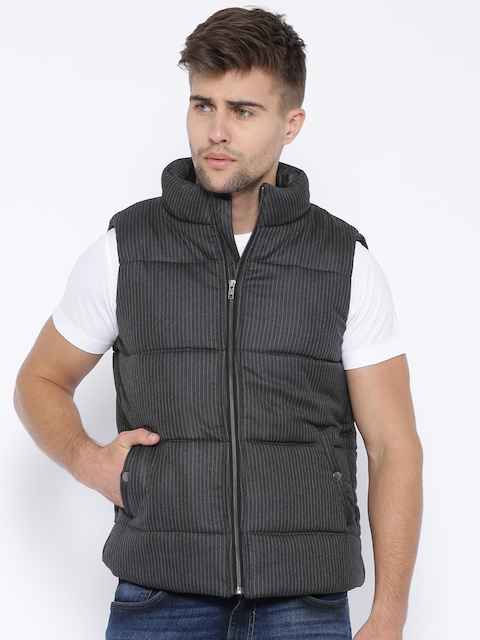 Theme Charcoal Grey Striped Sleeveless Padded Jacket