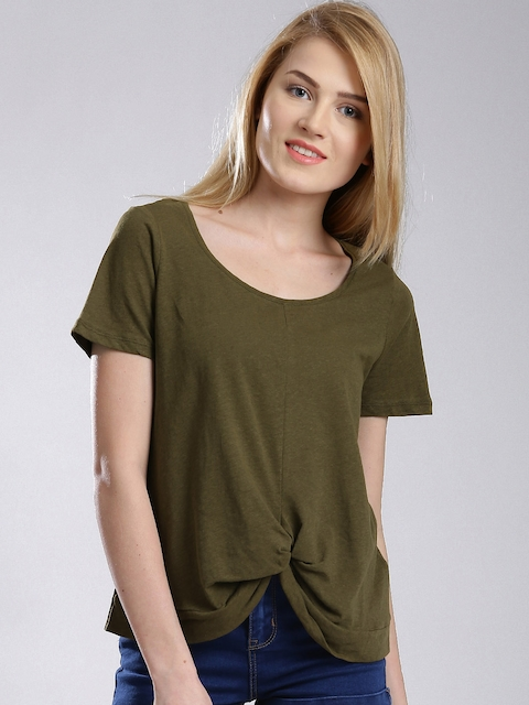 French Connection Olive Green Knotted T-shirt