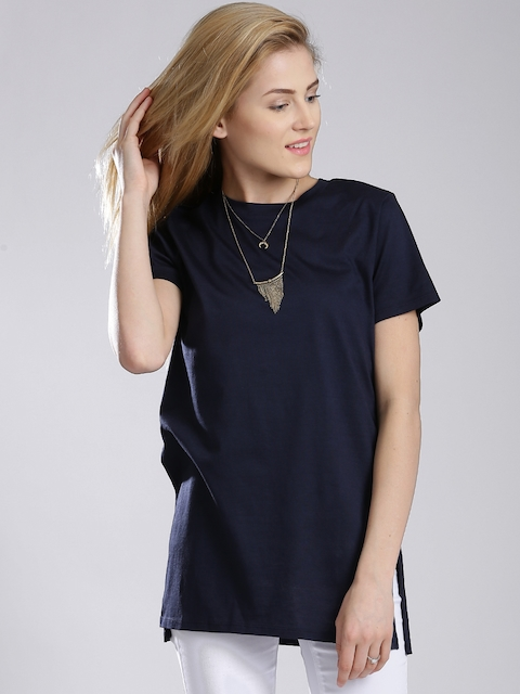 French Connection Navy High Slit T-shirt