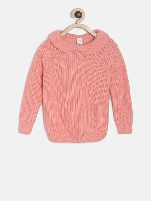 MINI KLUB Girls Pink Solid Pullover Sweater