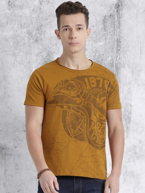 Roadster Men Brown Printed Round Neck T-Shirt