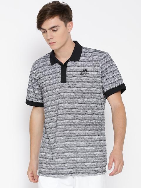Adidas Grey Essex Polyester Printed Tennis Polo T-shirt