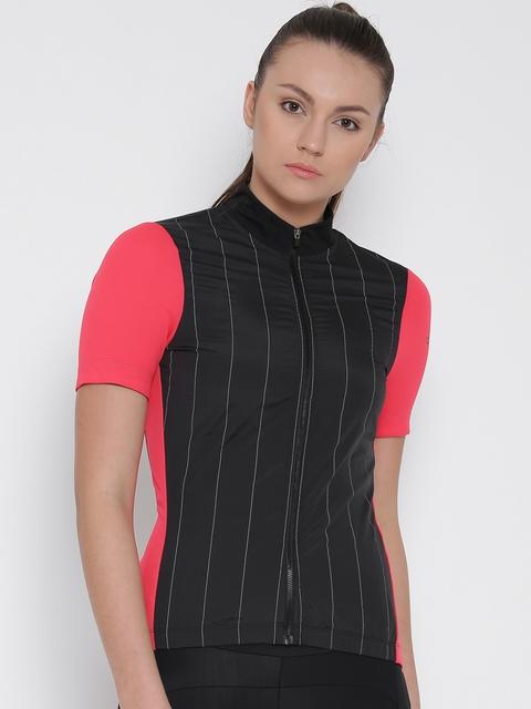 Adidas Black Striped SPNV REF SSJSYW Polyester Cycling T-shirt