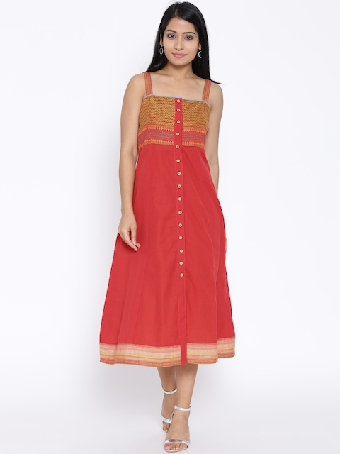 BIBA Red Midi Shift Dress