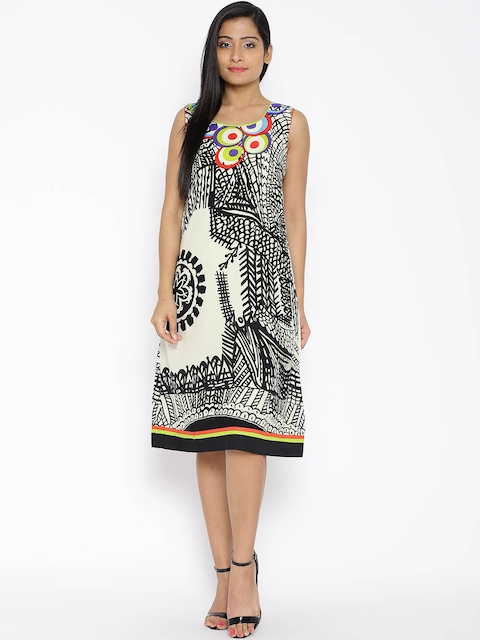 BIBA White & Black Printed A-Line Dress