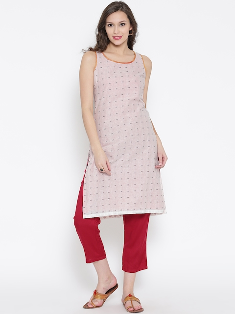 BIBA Off-White Printed Kurta  available at myntra for Rs.449