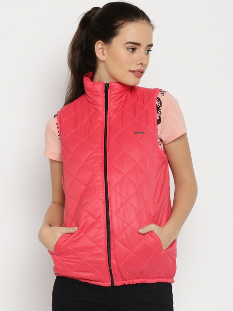 HARVARD Coral Pink Quilted Sleeveless Jacket