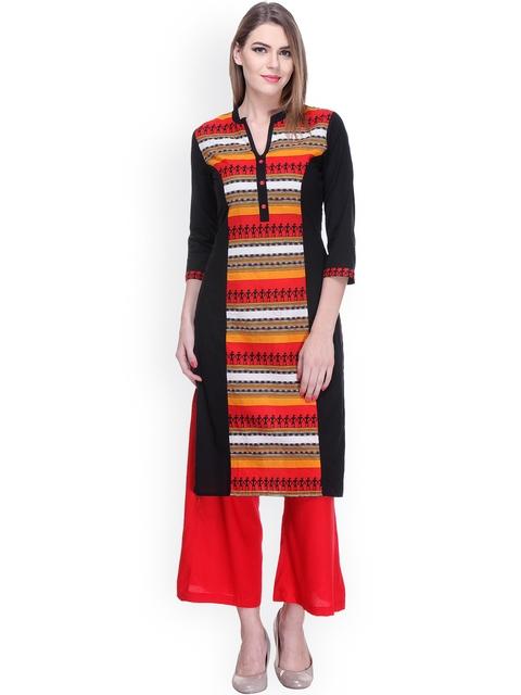 Varanga Black & Red Printed Kurta with Palazzo Trousers