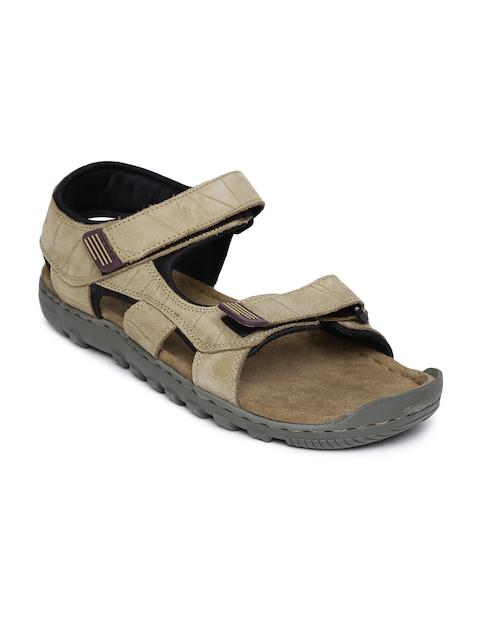 Woodland Men Khaki Leather Sandals