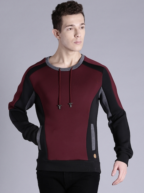 Kook N Keech Maroon & Black Colourblocked Sweatshirt