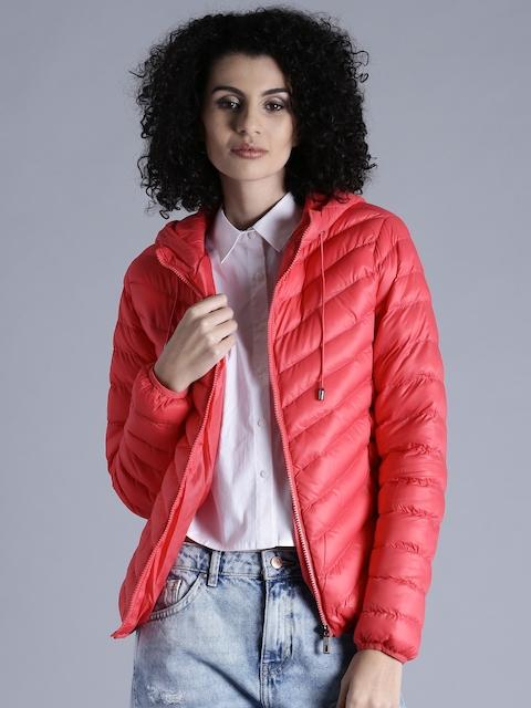Kook N Keech Pink Hooded Quilted Jacket