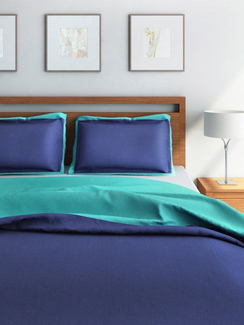 SPACES Navy & Teal Green Cotton Double Reversible Duvet Cover with 2 Pillow Sham Covers