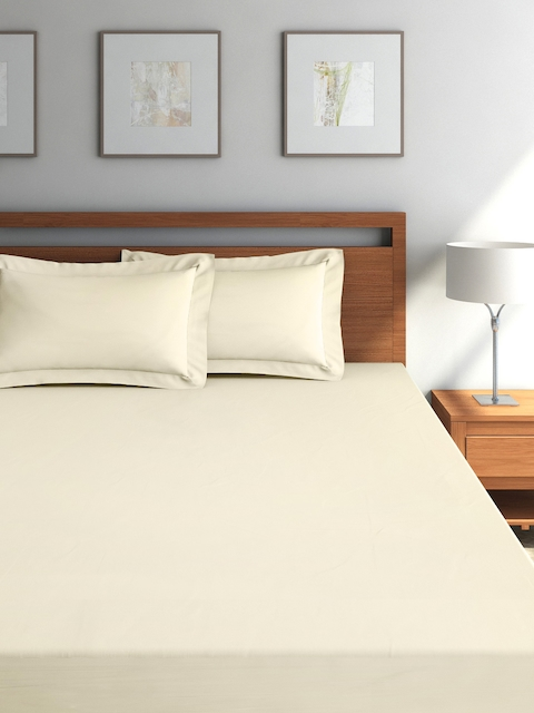 SPACES Beige 300 TC Cotton Fitted Double Bedsheet with 2 Pillow Covers