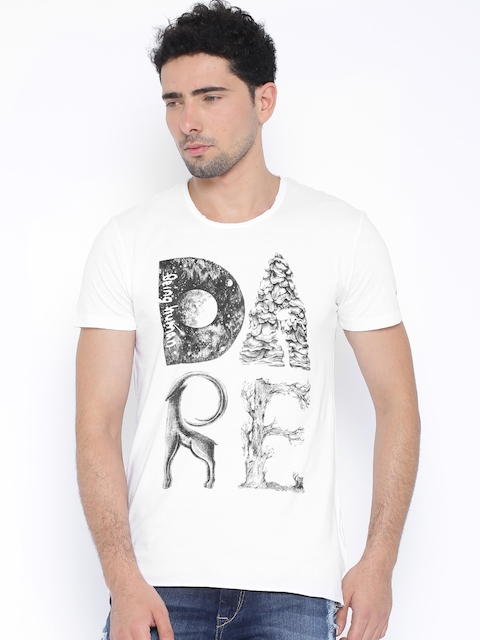 Being Human Clothing White Printed T-shirt