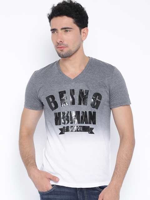 Being Human Clothing Grey Melange & White Ombre-Dyed Printed T-shirt
