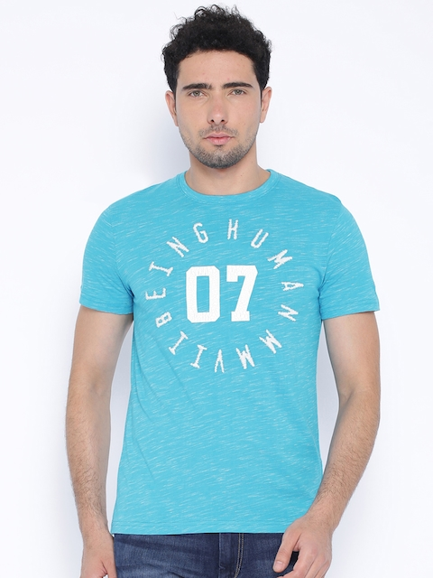 Being Human Clothing Blue Printed T-shirt
