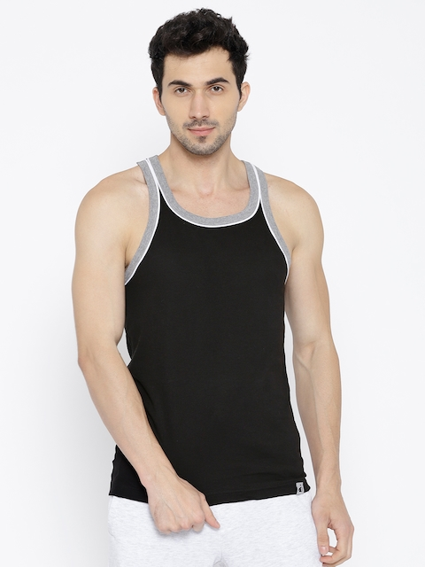 Jockey Men Black Solid Innerwear Vest 9925