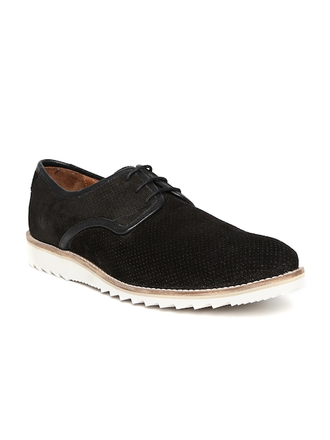 Louis Philippe Men Black Perforated Suede Casual Shoes